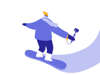 Snowboarding lobsterstudio illustration animation winter sports resort mountain riding snowboard sport festive december snow winter