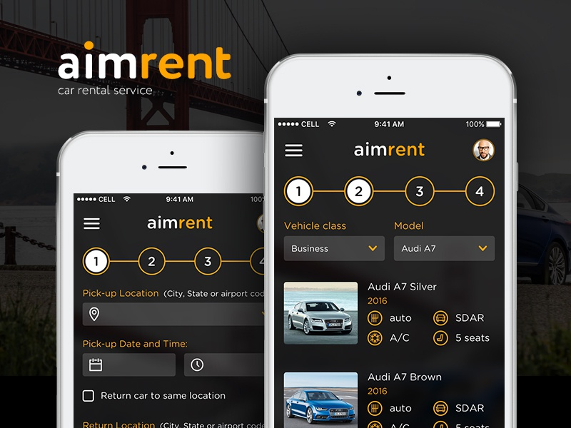 AimRent rental car rent auto auto rent daiy ui ux ui user interface interface booking application app