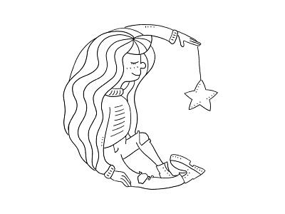 Moon Child childrens illustration moonchild linework hand drawn drawing art illustrator lineart minimal shape moon vector girl character sketch illustration