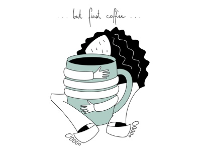 Coffe Mood girl female one line coffee cup coffee art portrait vector character sketch illustration