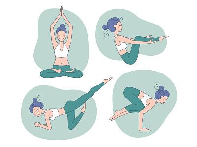 Yoga Poses calm vector female yoga pose app illustration workout yoga sport exercise position sketch girl character illustration