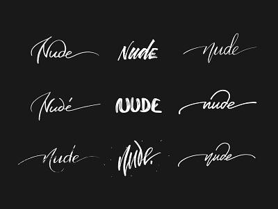 Nude Logo Sketches typography process nude logotype type wordmark font handwritten lettering branding logo sketch