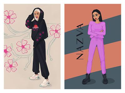 Nazva Fashion Illustration digital illustration digitalart fashion illustration cartoon model clothing label clothing procreate fashion beauty female girl character sketch illustration