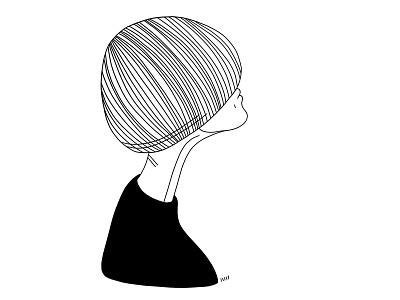 See mood portrait draw fashion character hair female feminine sensual woman girl hairstyle haircut lineart linework illustration