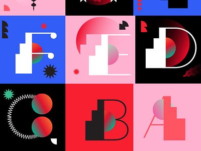 2021 Custom typo design geometry custom font font typography 36 days of type custom typography typo pink flat vector illustration