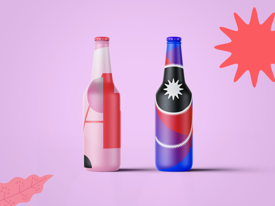 Cool Summer drinks pack geometry flat pink illustration vector design typography summer drink beer packaging