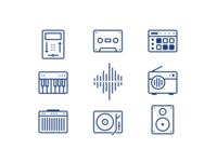 Amplified music icons tape speaker amplifier crossfader player radio sampler keyboard line icons