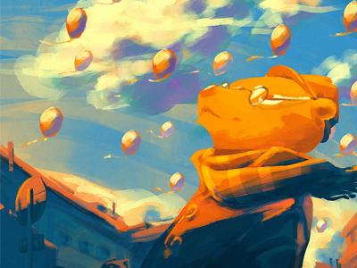 Baloons speedpaint sketches baloons bear sunset orange cute children illustration