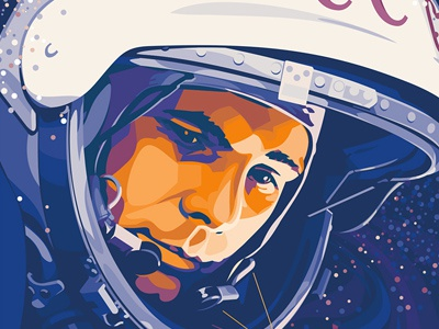 Gagarin universe space astronaut spaceman yuri gagarin gagarin man character vectorillustration vector illustration