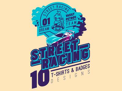 Street Racing Dribble 1 creative market design illustration logo emblem badge t-shirt drive sportcar car drif street racing