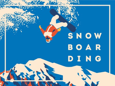 Snowboarding winter vector snowboard poster mountains flat extreme