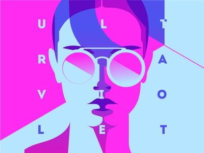 Ultraviolet light neon ultraviolet uv portrait girl poster flat vector