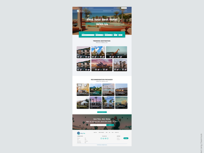 InfyTrip - Hotel Booing Application home screen ui branding home page landing page app company website home page design