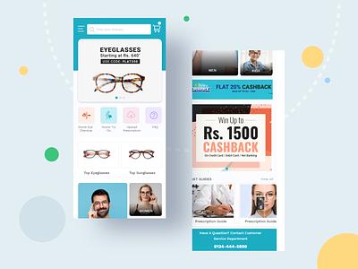 Eyewear e-commerce mobile app home screen design app home page design eyewear e-commerce platform