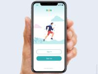 Login page of running app