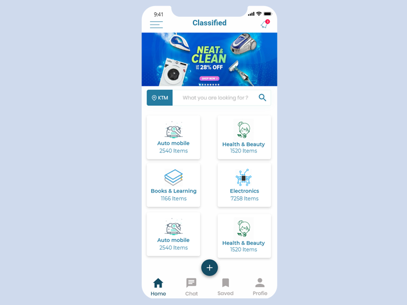 Classified Home scree search page searchpage catagory ecommerce home apge home screen of app app classified home screen
