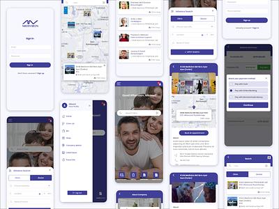 Clinic Locator App Design clinics payment corporate userprofile createaccount application ui application app design client login clinic ap pages home clinic locator app design