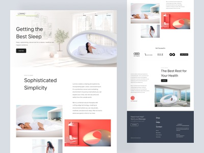 Lomme - a luxurious nest landing page 🍃 sleep nap white wordpress shopify marketing product relax enjoy nest nature website web landing clean ui user interface responsive design landing page clean design