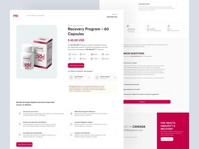 PRE Immunity product page 💊 campsule pill doctor healthy drug hospital medicine healthcare health site ui white clean product page product website web landing page landingpage landing