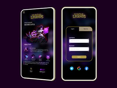 League of Legends app LogIn branding game prototype user-interface user-experience app concept league of legends uiux graphic design ux ui