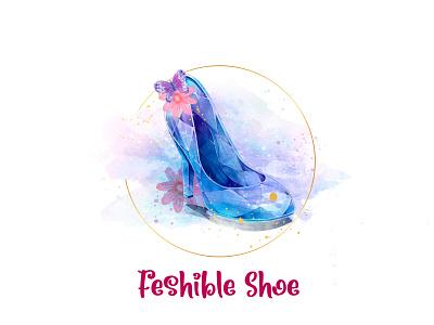 Watercolor Shoe Design ui ux vector typography app illustration branding icon logo design