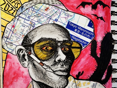 fear and loathing las vegas fear and loathing hunter s thompson collage art collage inkillustration illustration art illustration