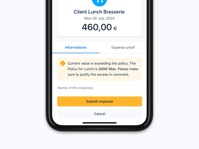 Warning Mobile ⚠️ native responsive convert money amount information claim expense lunch form warning icon mobile android ios app minimalist interface ux ui