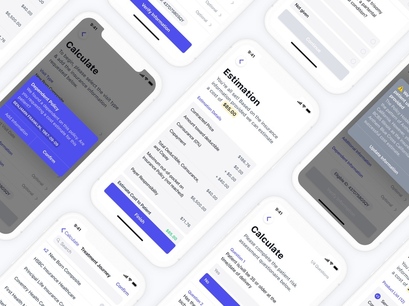 Complete iOS Project 📲 insurance money price calculate modern form questions eligible medical cart estimation minimal app project mobile android ios interface ux ui