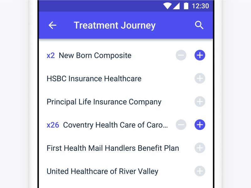 Add Products 🛄 ios purchase select search list treatment product add estimation medical eligible medicine medecine cart android minimal app ux ui