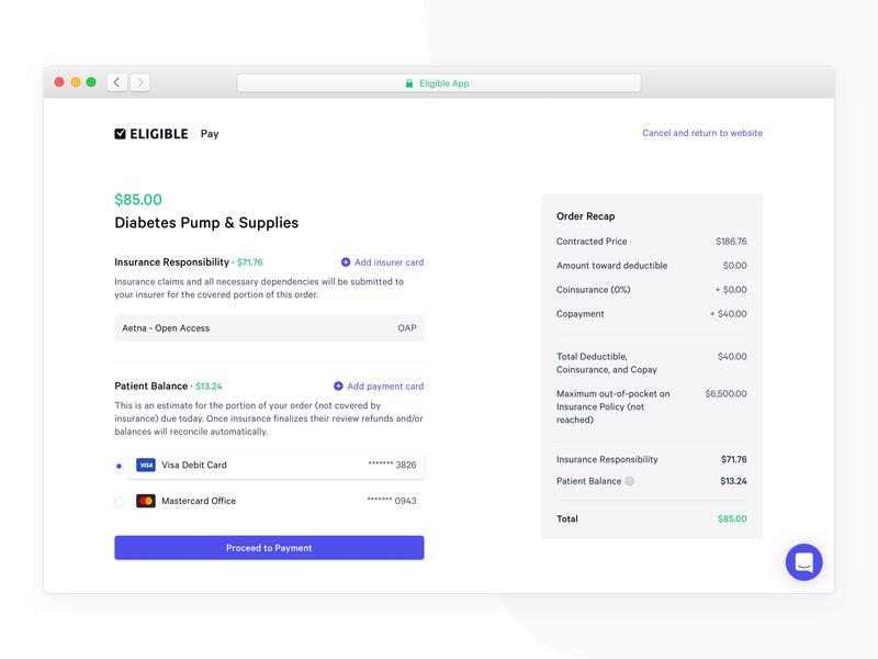 Payment Flow 💳 eligible billing medical dashboard web app flow minimal payment app total balance creditcard payments payment recap cart order transaction ux ui