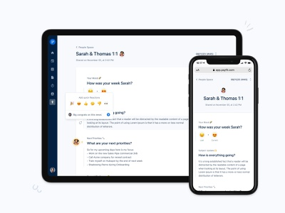 1:1 Review space 👨👩👦 pulse send ios page document live collaboration avatar text emoji reactions comment manager management performance 1:1 payfit interface ux ui