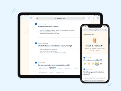 What are your next priorities? 🔨 people topic select emoji responsive text input mood illustrations payfit minimal form survey management performance 1:1 review interface ux ui