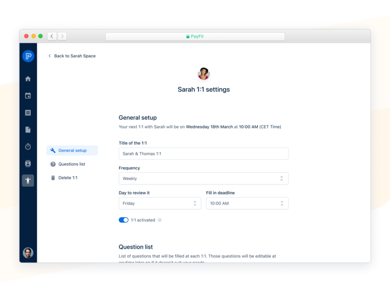 1:1 Settings 🔨 form question minimal module survey pulse performance schedule customization questions 1:1 settings payfit interface ux ui