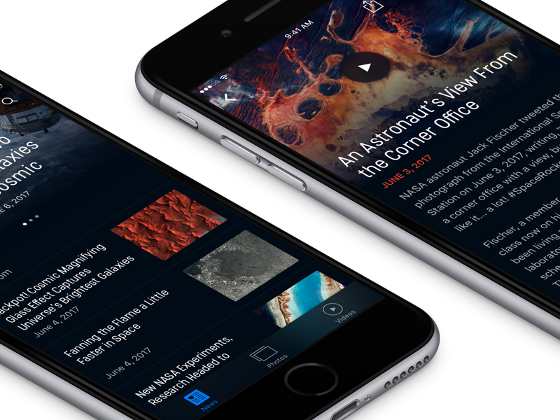 Nasa Redesign 🛰 mobile space minimal videos article nasa news app interface ux ui ios