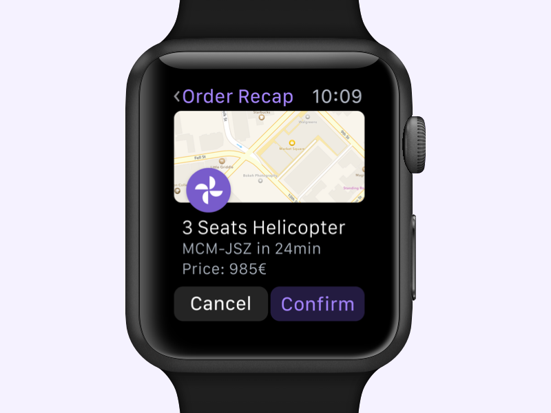 Order Recap ⌚️ minimal helicopter uber apple watch recap order map interface ux ui watch