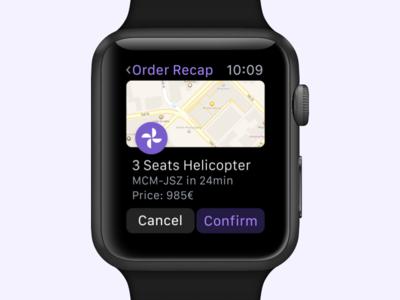 Order Recap ⌚️ minimal helicopter uber apple watch recap order map interface ux ui watch
