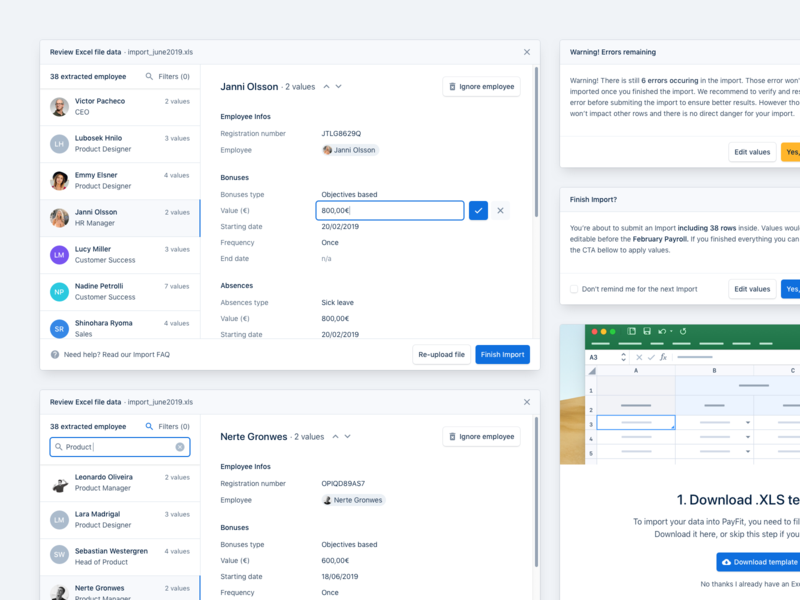 Imports Flow 🔄 metadata tags search users flow popup modal xls import edit data product dashboard minimal interface ux ui