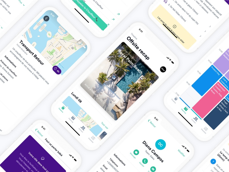 Offsite project 📯 map colors application app mobile android ios timeline activity calendar contact offsite planning minimal interface ux ui