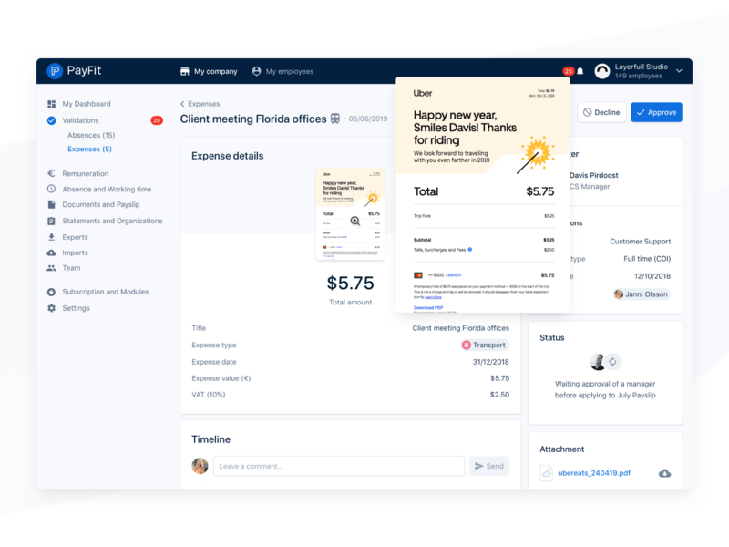 Approve Request ✨ status attachment payfit app money receipt info timeline module dashboard chart data product minimal ocr expense validation interface ux ui