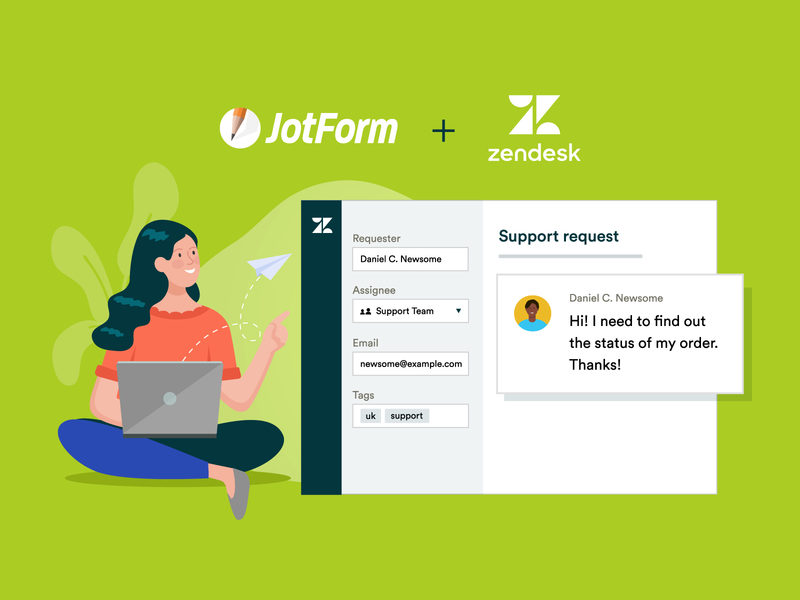 Zendesk & JotForm easy to use form assignee question customer e-commerce ui request ticket support automation jotform zendesk integrations business artwork design vector illustration