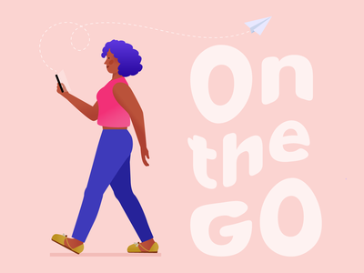 On the Go typography character walking on the go mobile artwork woman flat vector design illustration