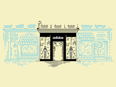 ADIDAS_flagship store outside illustration store vector slovak outline map ilustration icon flat czech adidas