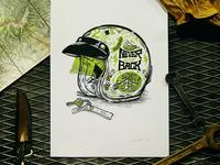 GREEN HELMET print