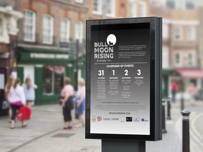 Bull Moon Rising poster design flyer design bull city moon calendar adobe indesign poster flyer