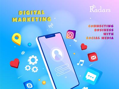 Digital Marketing animation illustration branding 3d 2danimation design