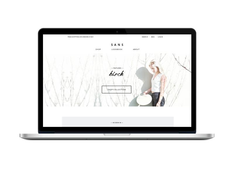 Sans Storefront shop store layout web design website homepage clean minimalist ecommerce ui ux web