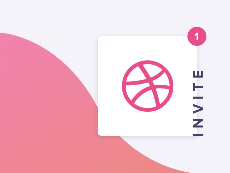 Dribbble Invite orange pink gradient wave ui minimal material modern clean notification giveaway invite