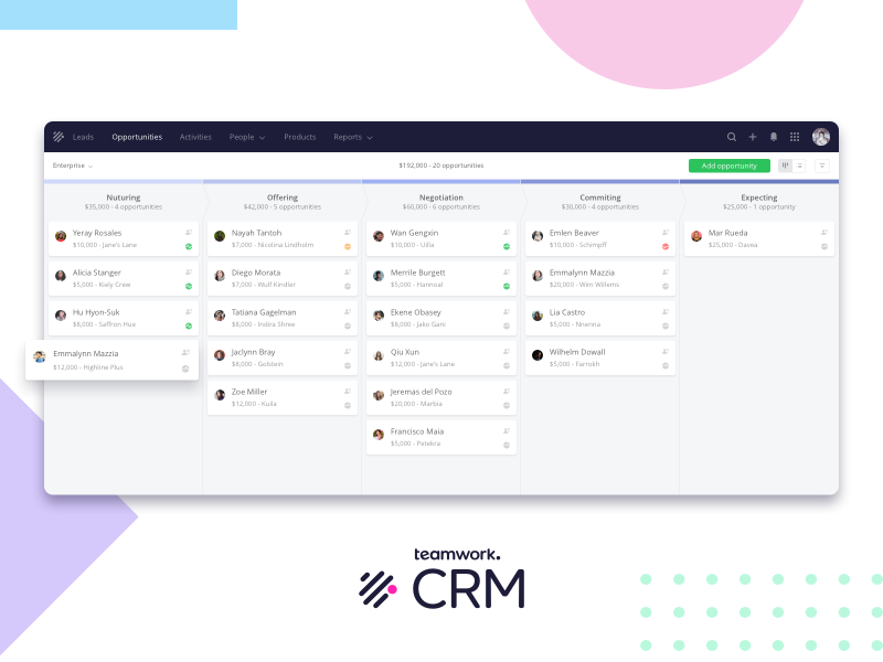 Teamwork CRM web dashboard sales funnel user interface user experience landing page pipeline board view crm product design app ux ui