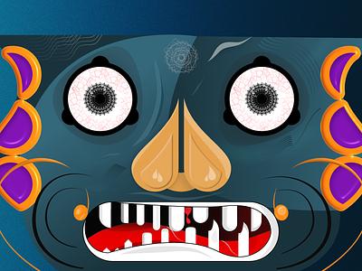 Cyanophobia Illustration blue illustration monster cyanophobia face vector illustration design