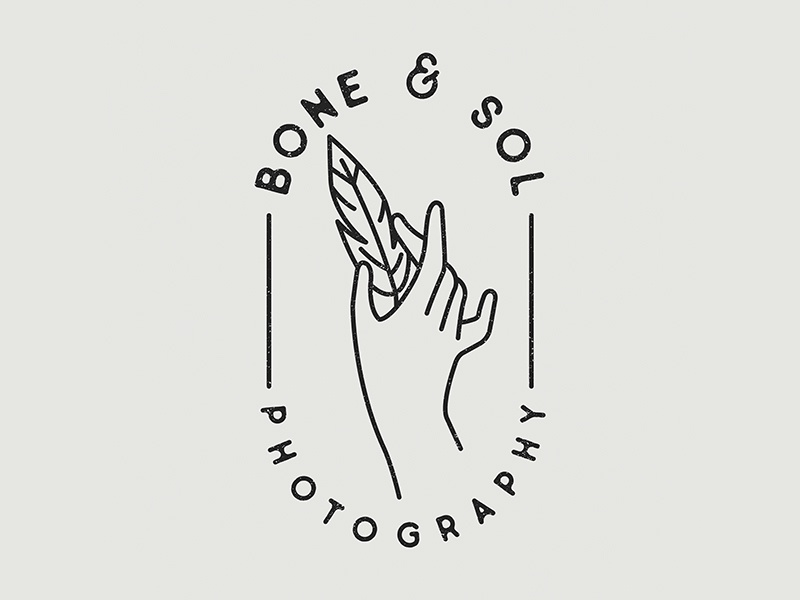 Bone & Sol Photography Logo illustration design freelance photography custom mark identity branding lockup markup logo